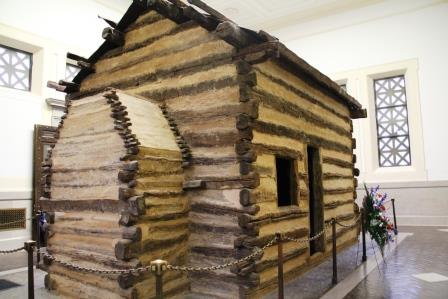 Cabin symbolizing the one the Lincoln family lived in
