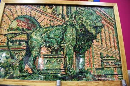 Mosaic of Art Institute Lion made from Jelly Belly jelly beans