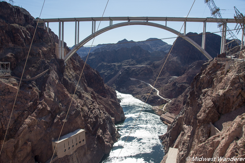 View of Mike O'Callaghan – Pat Tillman Memorial Bridge from Hoover Dam