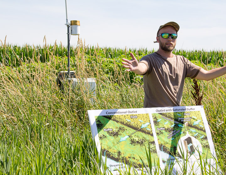 PhD student Tyler explains how a saturated riparian buffer zone works