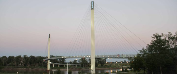 Crossing the Bob Kerrey Pedestrian Bridge