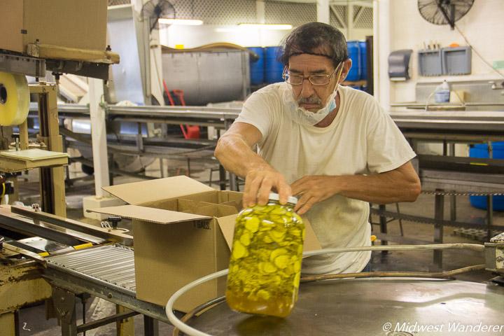 packaging Sechler's pickles