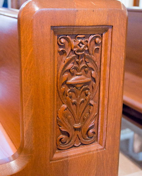 Hand-carved pews