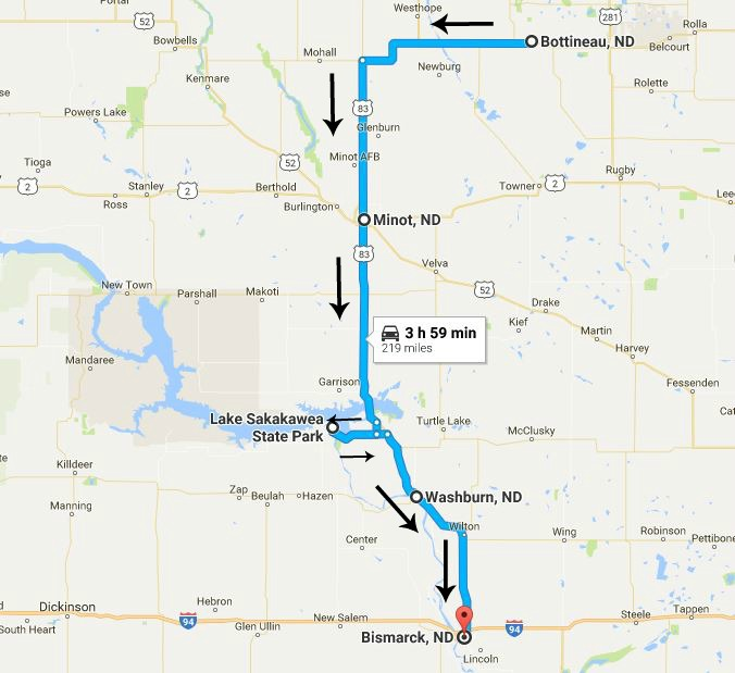 North Dakota Road Trip Day 4 Map