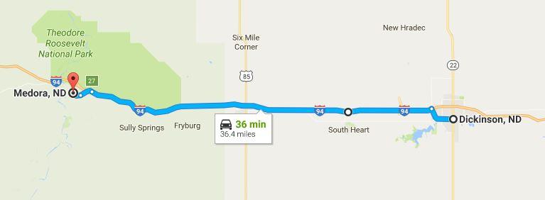 North Dakota Road Trip Day 6 map