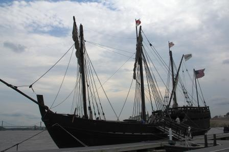Nina and Pinta Replicas Sail the Mississippi, Dock for Tours