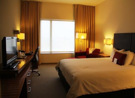 Guest room at the I Hotel and Conference Center in Champaign Illinois