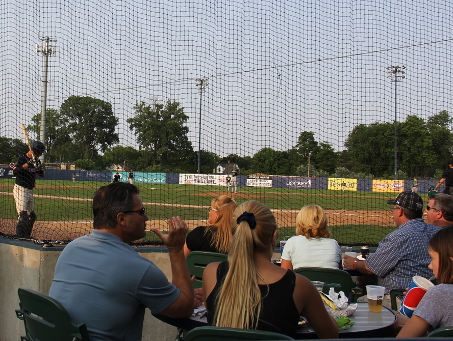 Table seating at a Kenosha Kingfish baseball game in Simmons Field