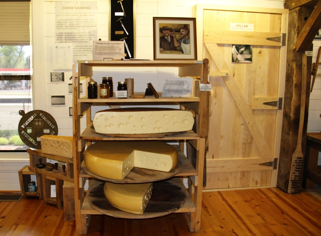 Grading the Swiss cheese - exhibit at National Historic Cheesemaking Center in Monroe Wisconsin