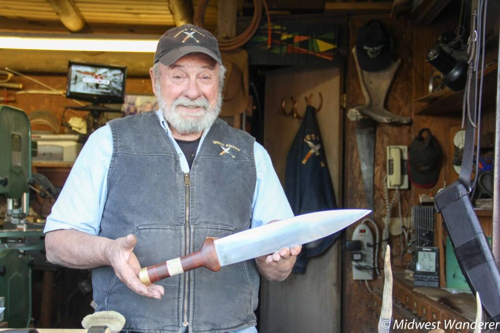 Knife maker at Fort Hays Old West town