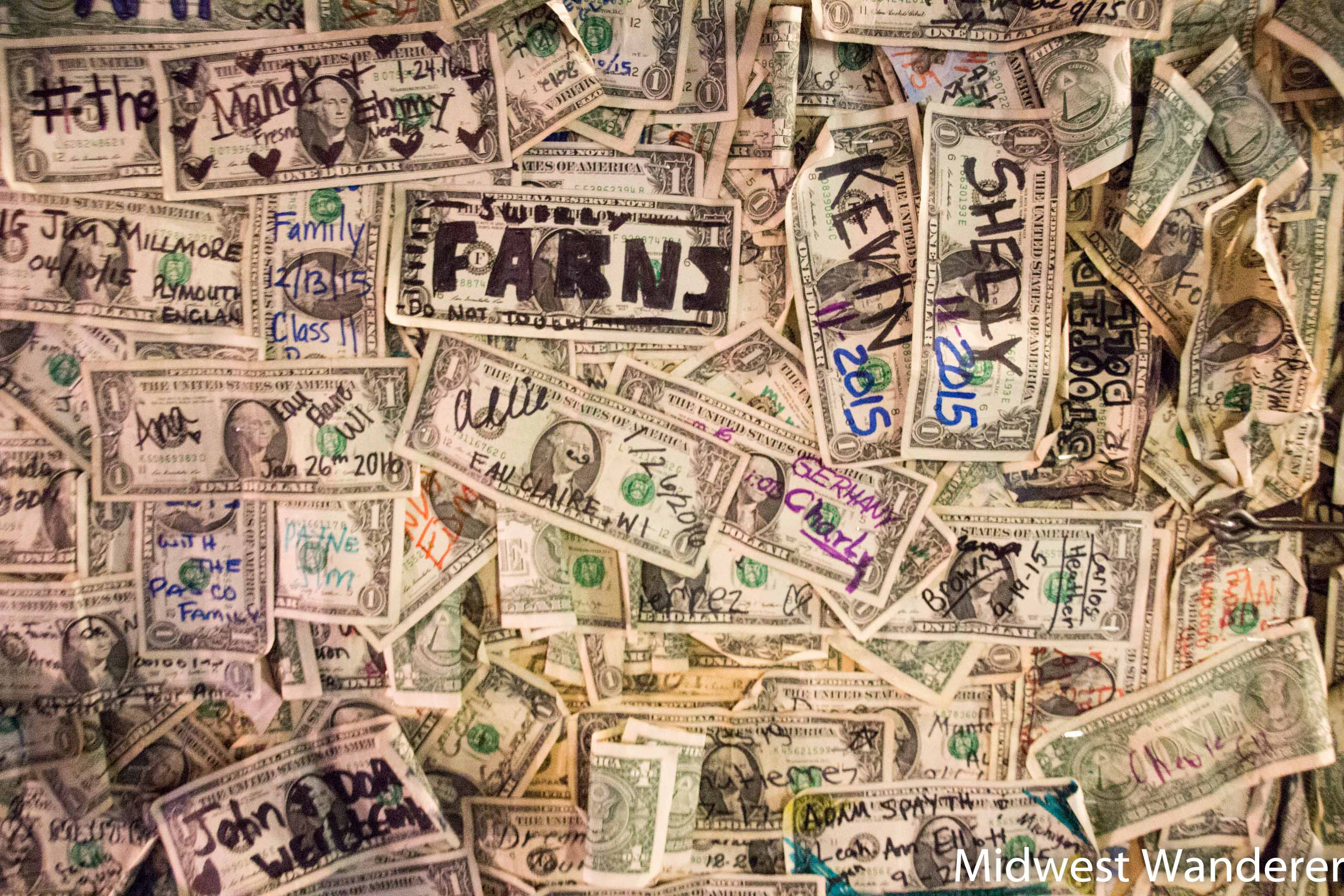 dollar bills at Oatman Hotel Restaurant & Saloon