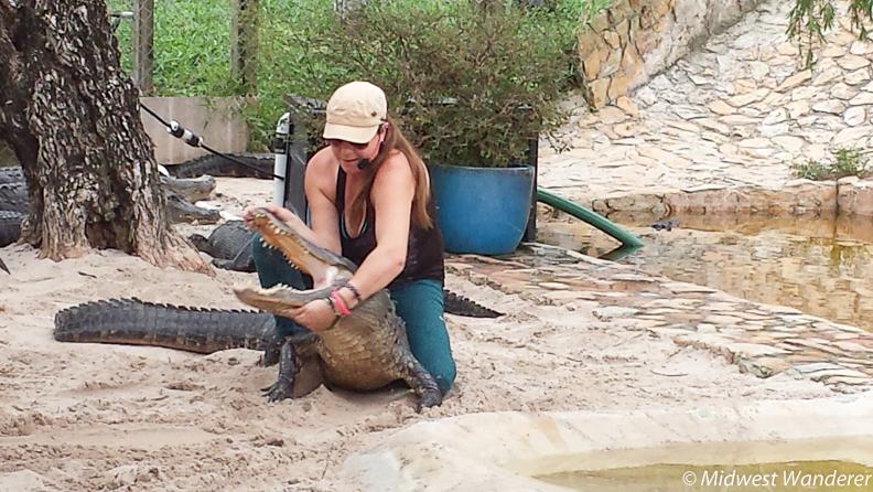 Christine with alligator