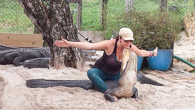 Christine with chin on alligator's teeth