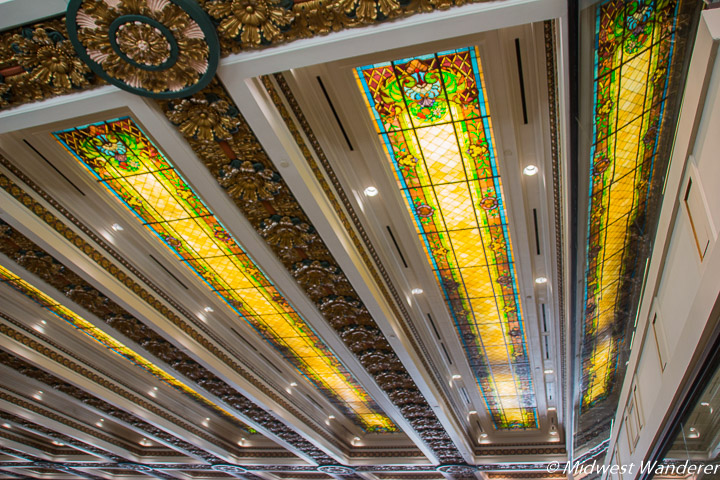 stained glass skylight panels at Oklahoma State Capitol