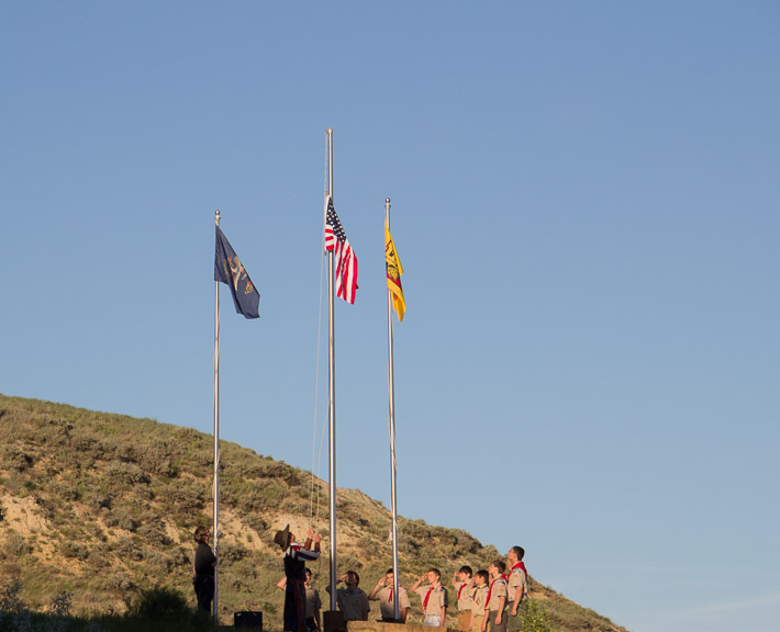 Flag raising at the Medora Musical