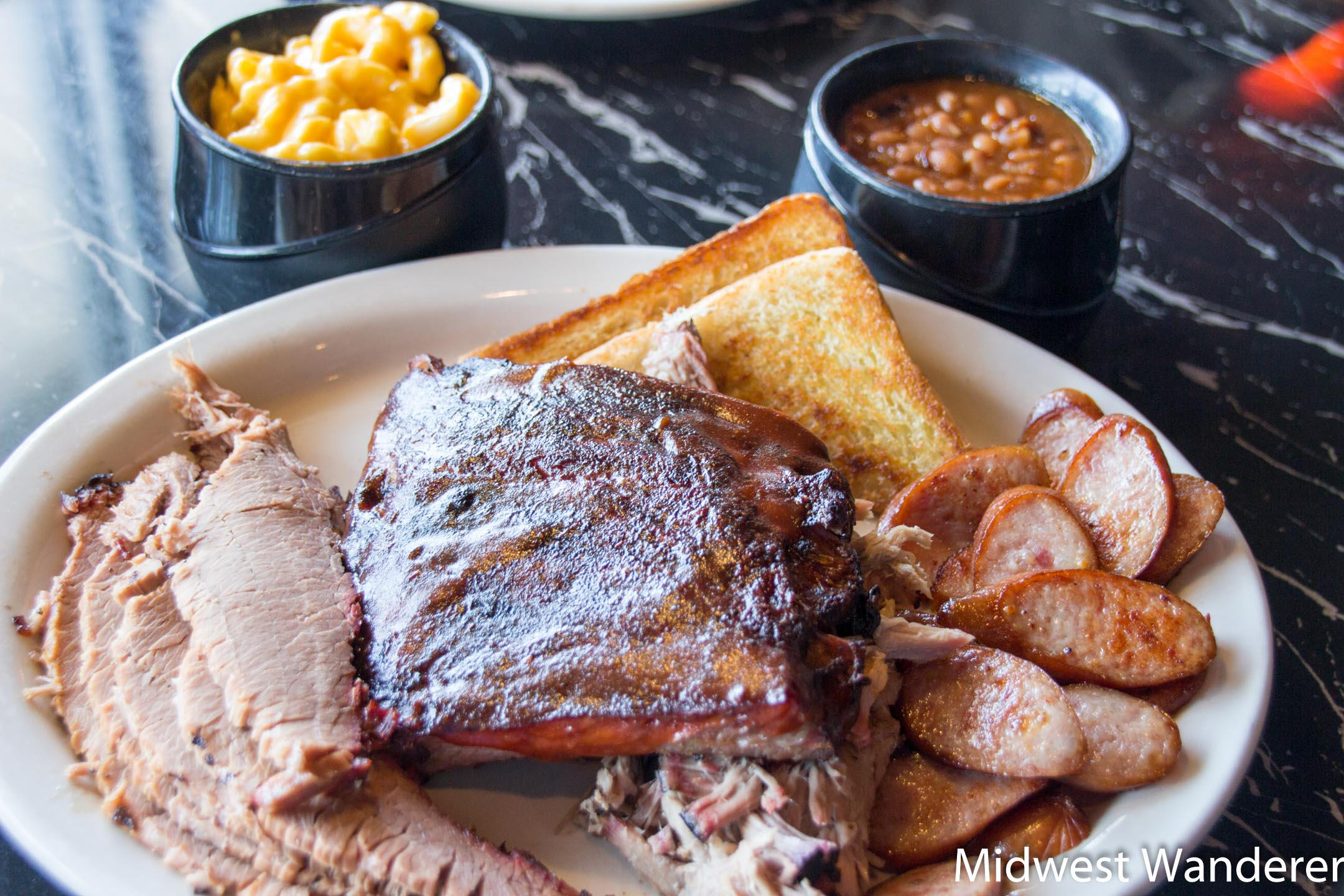 Pit Stop Barbecue and Grill four-meat combination platter
