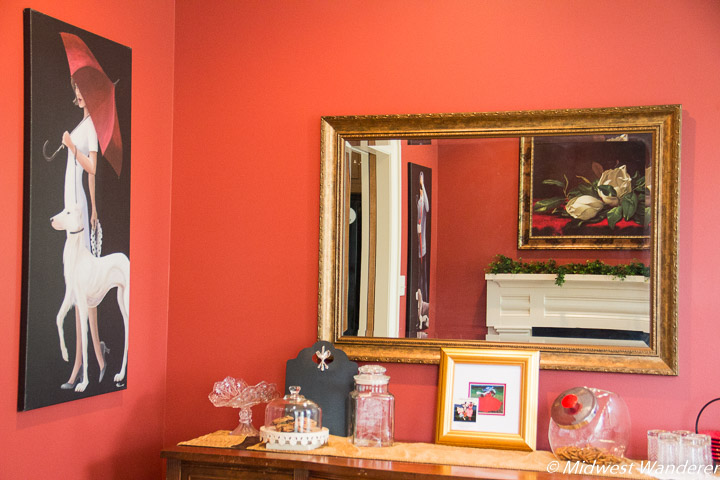 B&B decorated with Red Umbrella paintings