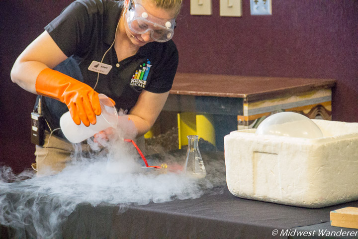 Experimenting with liquid nitrogen at Science Central