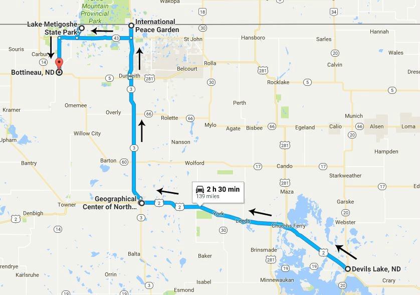 North Dakota Road Trip Day 3 map