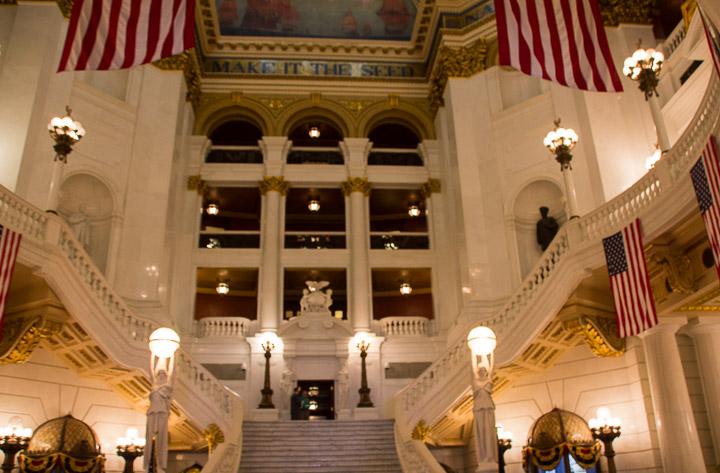 Pennsylvania State Capitol rotunda staircase