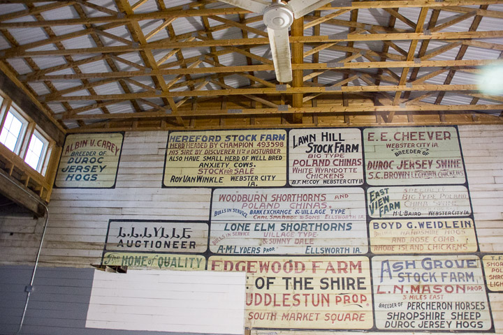 Signs painted inside Hamilton County Fairgrounds round barn