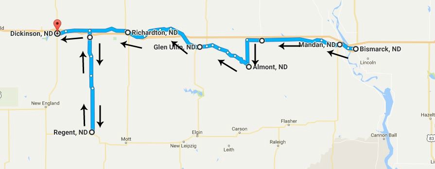 North Dakota Day 5 map