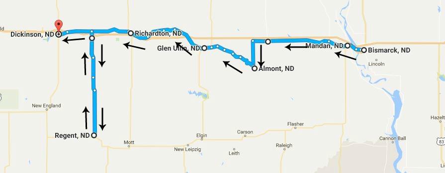 North Dakota Day 5 map