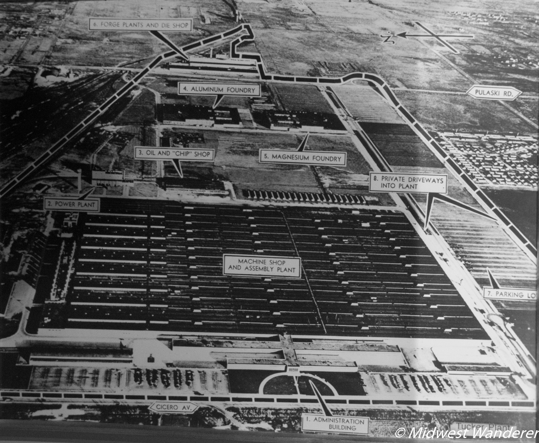 Aerial view of the Tucker manufacturing plant.