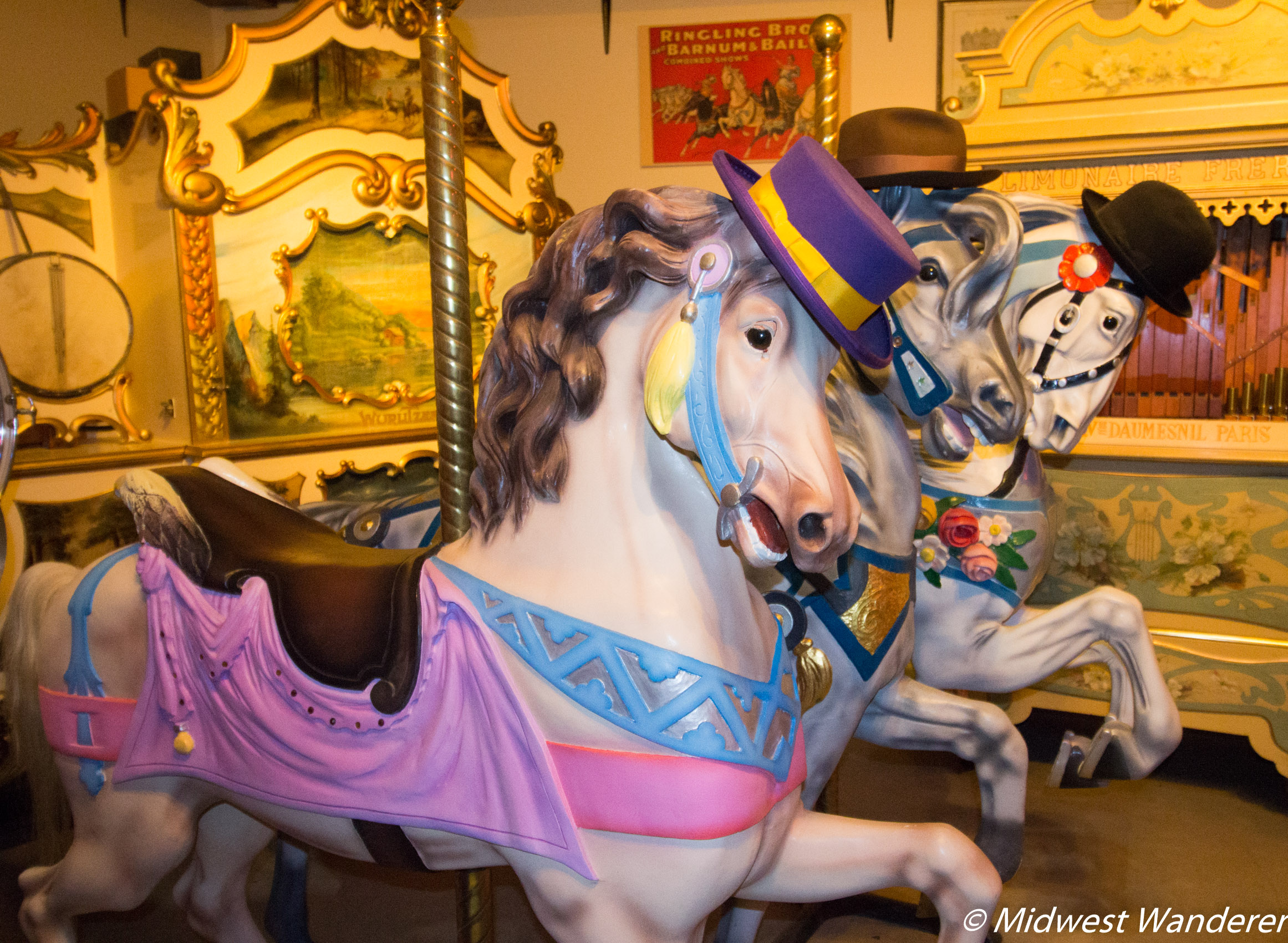 Carousel horses at Dr Ted's Musical Marvels