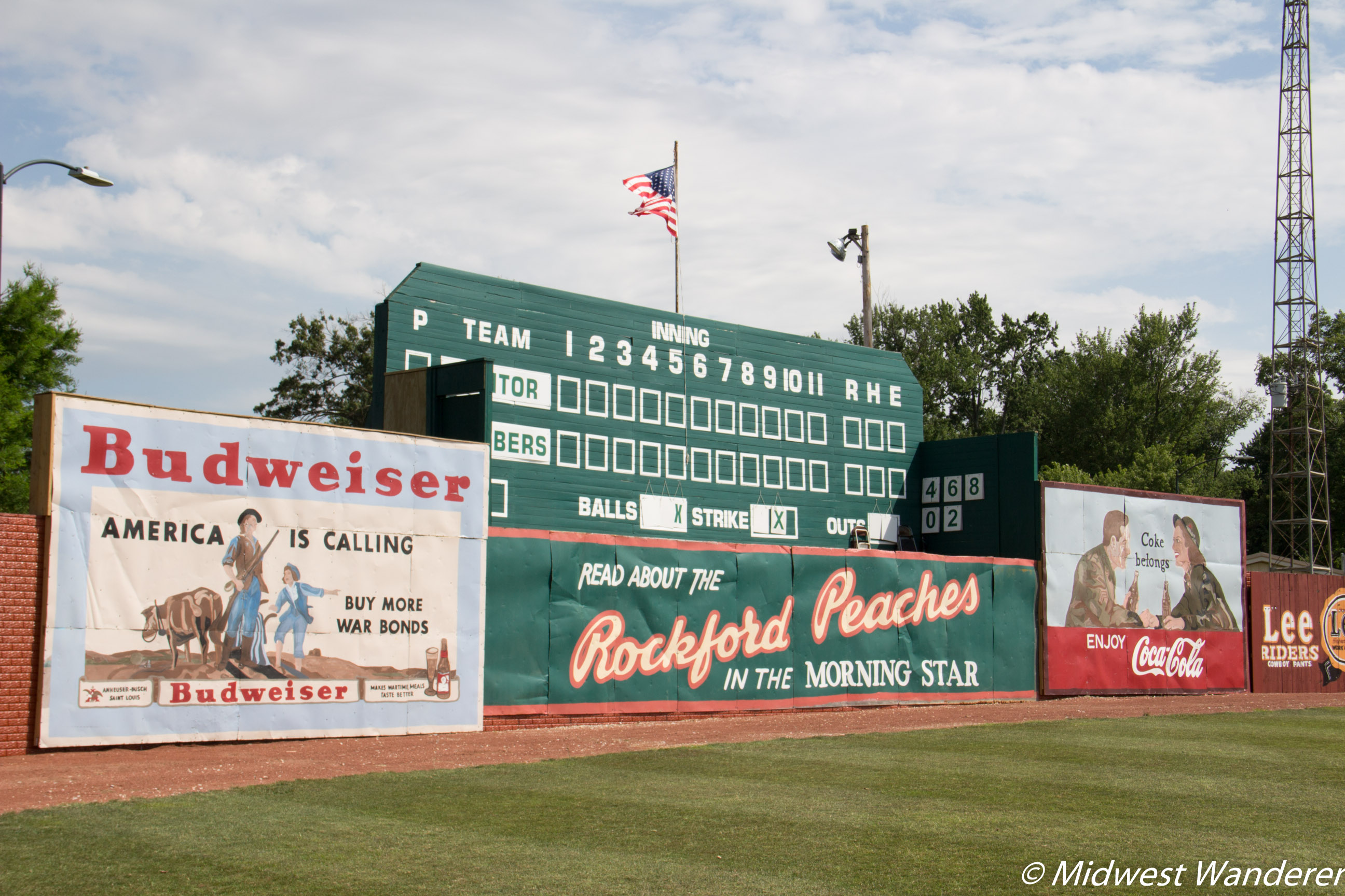 League Stadium scoreboard and vintage billboards