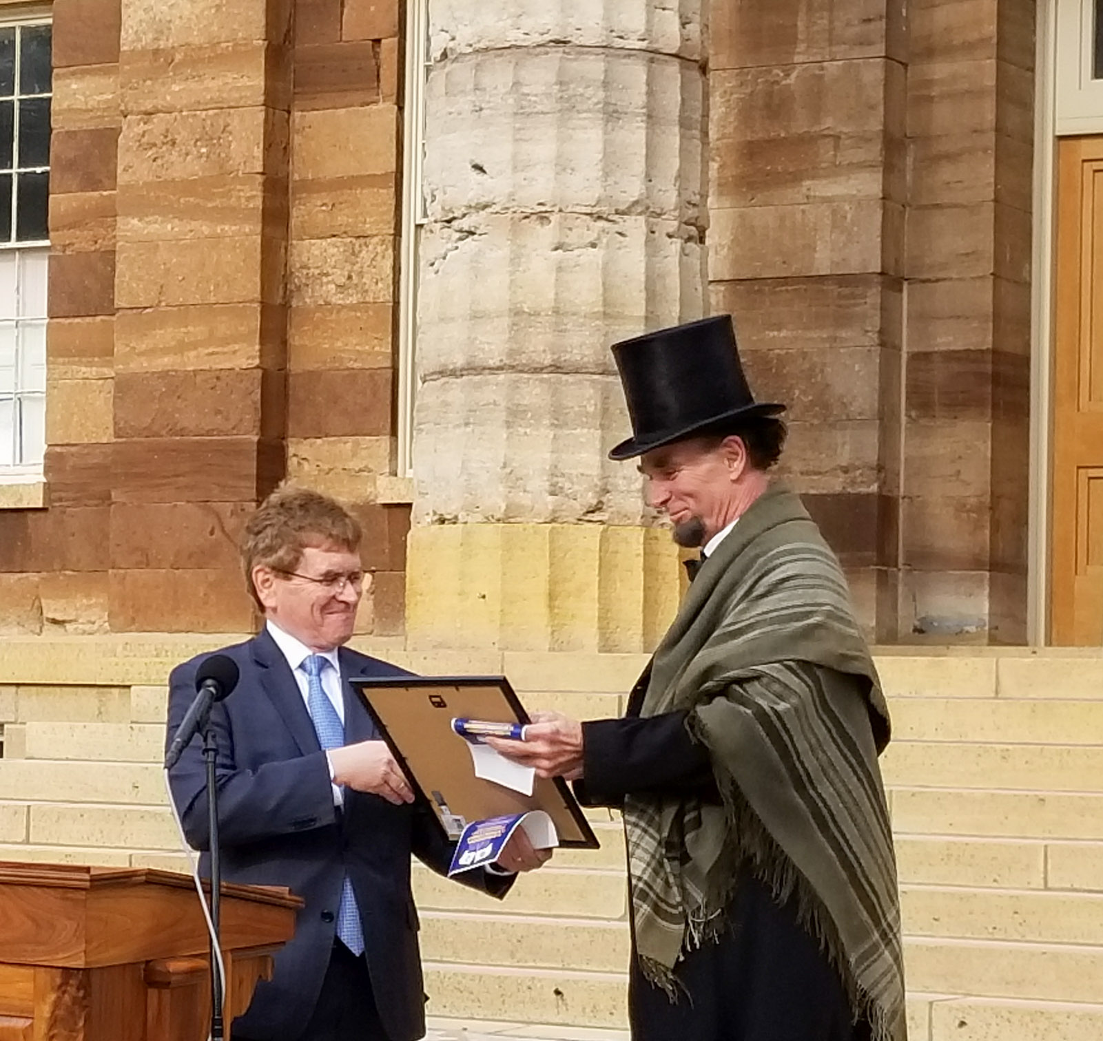 Illinois Bicentennial Flag Raising Ceremony, Abraham Lincoln Impersonator