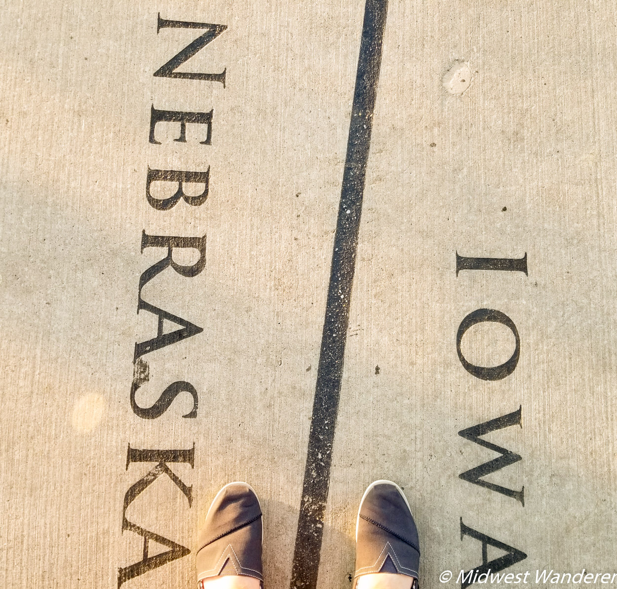 Bob Kerry Pedestrian Bridge - standing in Iowa and Nebraska