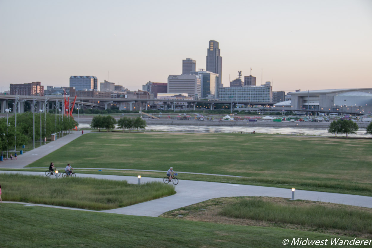 Omaha skyline from Tom Hanafan River's Edge Park in Council Bluffs Iowa