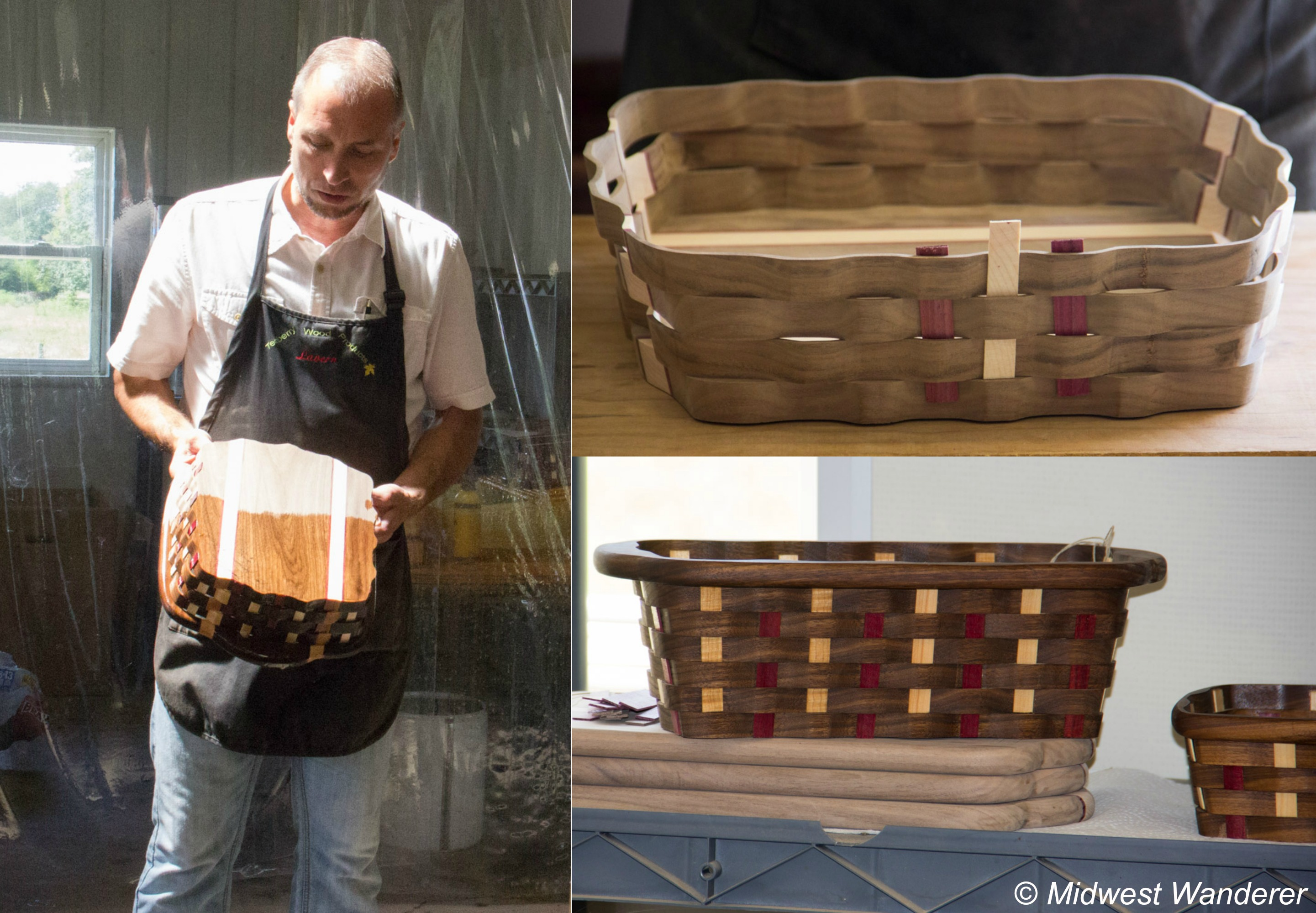 Blue Gate Amish Tours - Teaberry Wood Products - making baskets