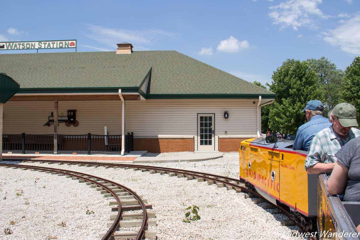 Union Pacific replica miniature train at Watson Steam Train & Depot