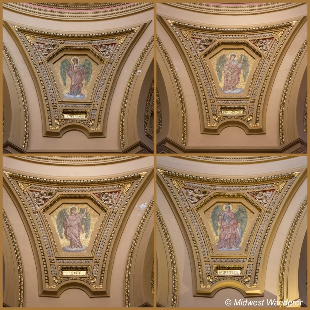Mosaics in the Cathedral of Saint Paul depict the four cardinal virtues
