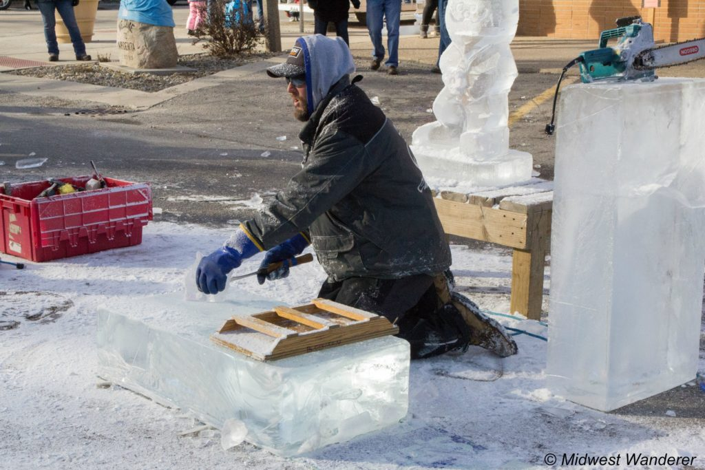 Aaric Kendall demonstrating ice carving