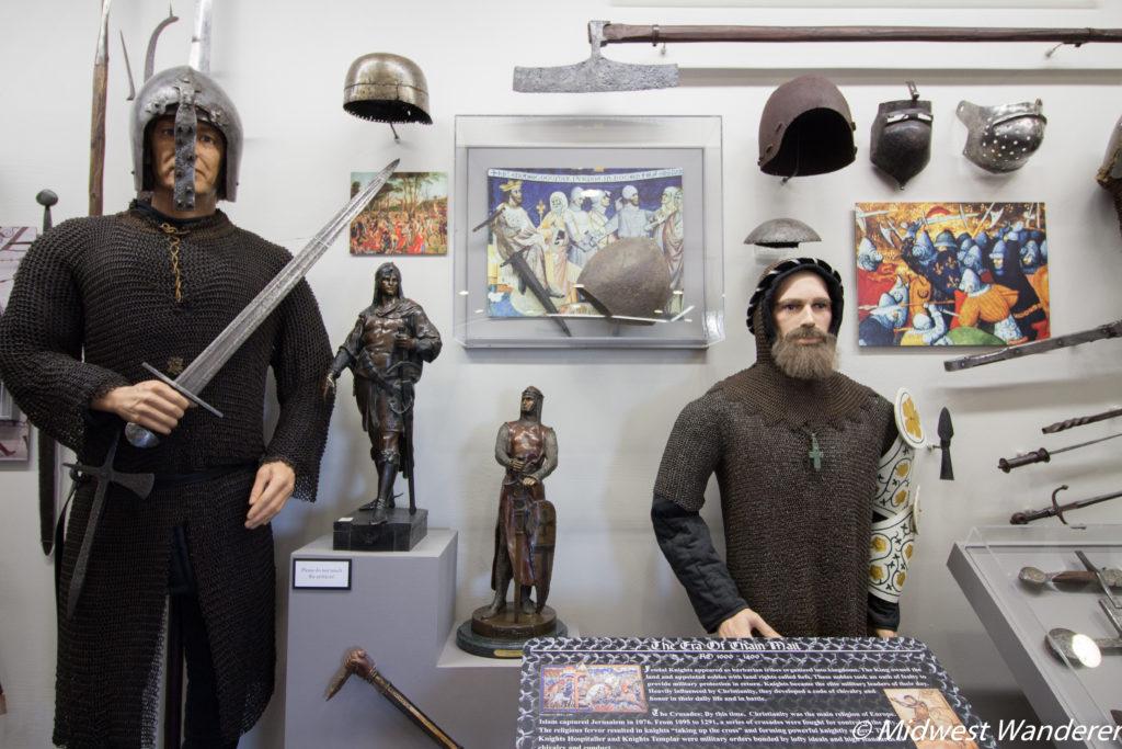 Castlerock Museum arms and armor exhibit