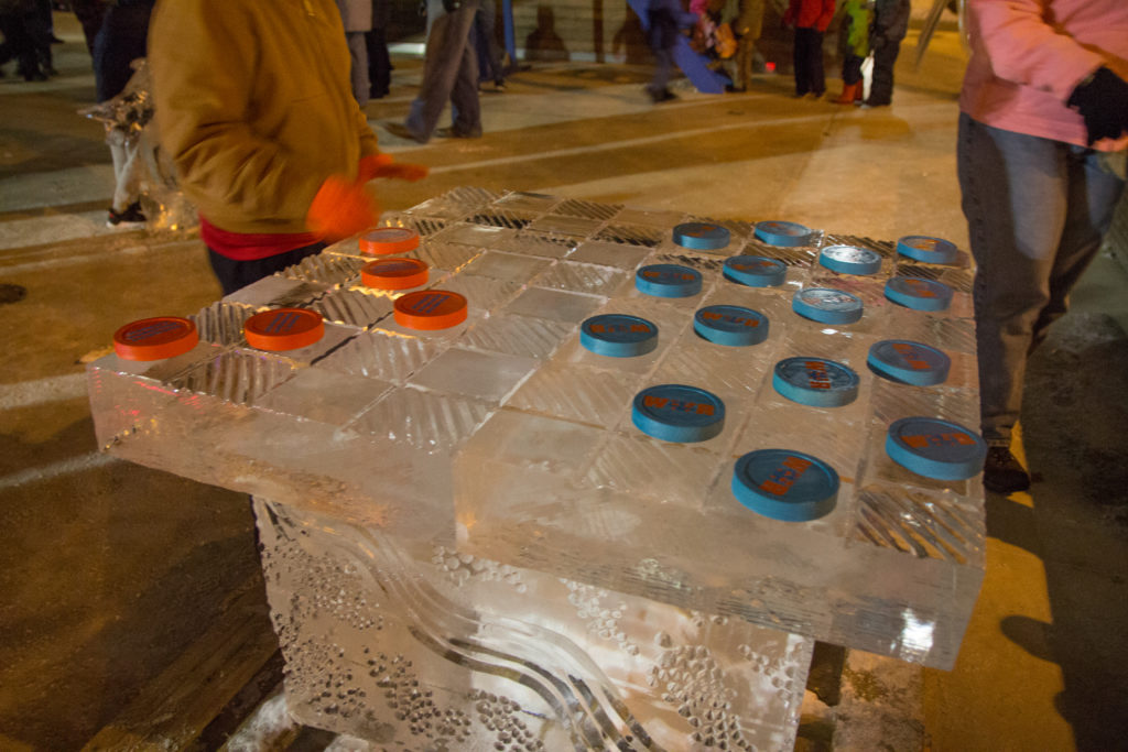 Checkerboard made of ice at Midwest ice festivals