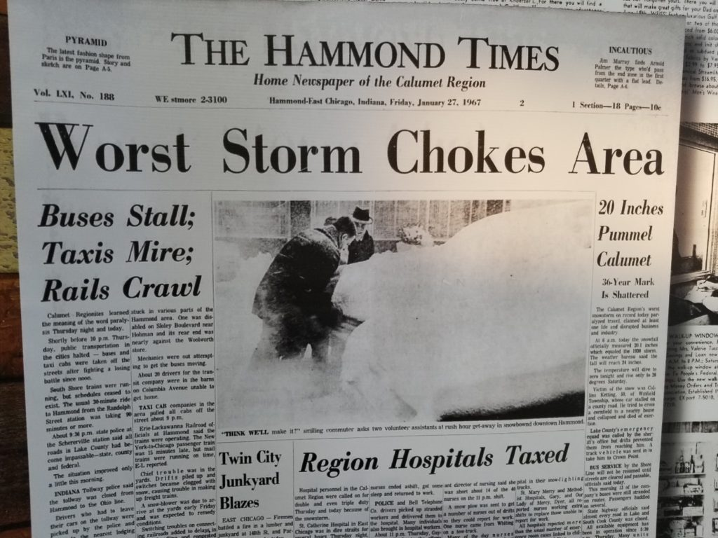 Headline from The Hammond Times - 1967 snowstorm