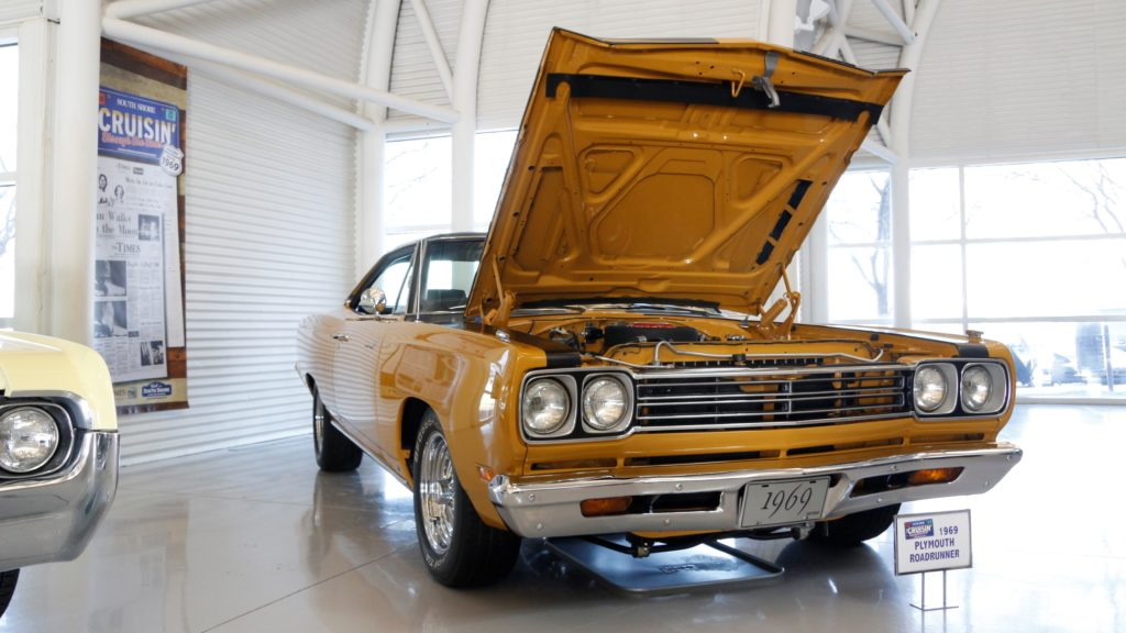 1969 Plymouth Roadrunner on display at Indiana Welcome Center